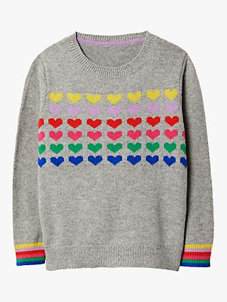 Mini Boden Girls' Rainbow Heart Jumper, Grey