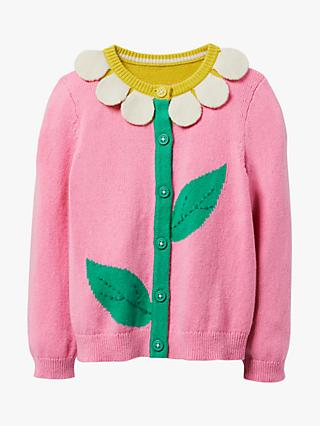 Mini Boden Girls' Sunflower Cardigan, Pink Lemonade Daisy