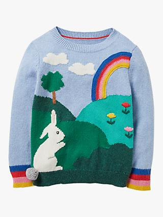 Mini Boden Girls' Bunny Scene Jumper, Frosted Blue