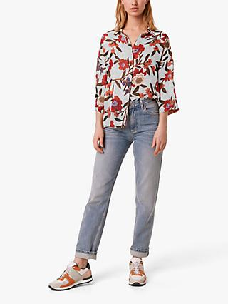 French Connection Crinkle Floral Blouse, Multi
