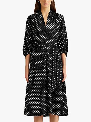 Lauren Ralph Lauren Bijourna Polka Dot Midi Dress, Black/Multi
