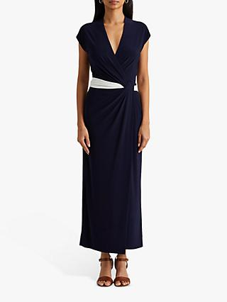 Lauren Ralph Lauren Rhiannan Wrap Dress, Navy/Lauren White