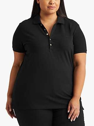Lauren Ralph Lauren Curve Kiewick Short Sleeve Polo Top, Black
