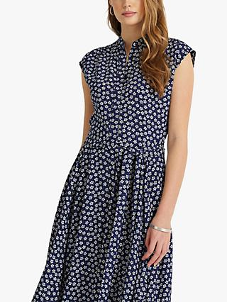 Lauren Ralph Lauren Krutie Floral Sleeveless Casual Dress, French Navy/Multi