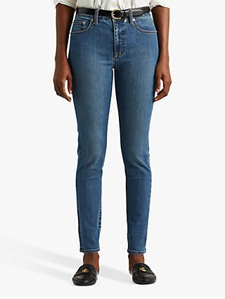 Lauren Ralph Lauren High Rise Five Pocket Slim Jeans, Mid Blue