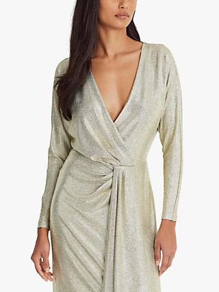 Lauren Ralph Lauren Lynna Metallic Cocktail Dress, Beige/Gold