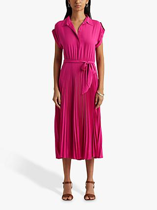 Lauren Ralph Lauren Algis Cap Sleeve Pleated Midi Dress, Pink