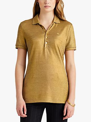 Lauren Ralph Lauren Kiniasta Short Sleeve Polo Top, Gold