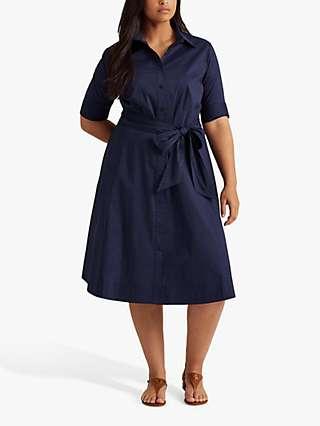 Lauren Ralph Lauren Curve Finnbarr Short Sleeve Casual Dress, French Navy