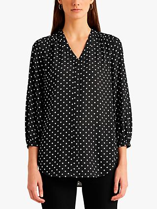 Lauren Ralph Lauren Fajola Polka Dot Georgette Top, Polo Black/White