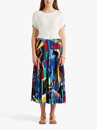 Lauren Ralph Lauren Suzu Abstract Print Pleated Skirt, Black/Multi