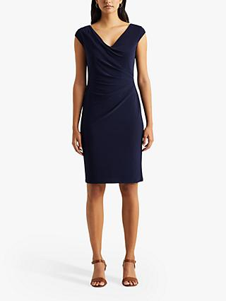 Lauren Ralph Lauren Brandie Cap Sleeve Knee Length Dress, Navy