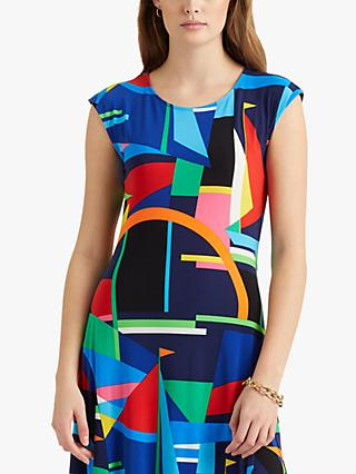 Lauren Ralph Lauren Yshanka Abstract Print Dress, Blue/Multi
