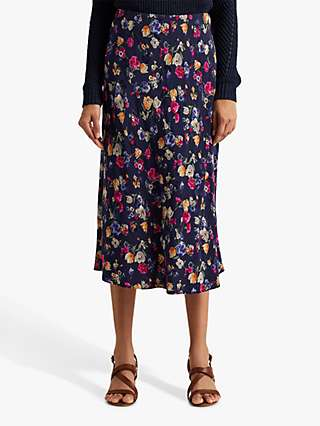 Lauren Ralph Lauren Sharae Straight Floral Midi Skirt, Blue/Multi