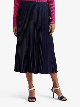 Lauren Ralph Lauren Suzu A-Line Midi Skirt, Navy