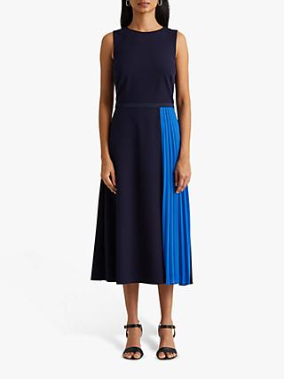Lauren Ralph Lauren Rylee Sleeveless Pleat Detail Day Dress, Navy/Boysenberry