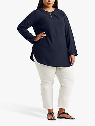 Lauren Ralph Lauren Curve Tariot Long Sleeve Blouse, Navy