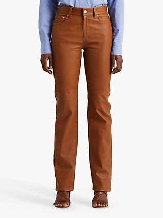 Lauren Ralph Lauren High Rise Leather Straight Leg Trousers, Cuoio