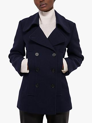 Jigsaw Twill Wool Blend Pea Coat, French Navy
