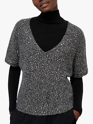 Jigsaw Sparkle V-Neck Top, Charcoal