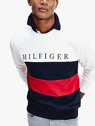 Tommy Hilfiger Colour Block Stripe Sweatshirt, White/Multi