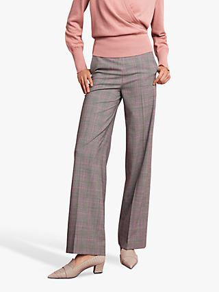The Fold Collingham Wide Leg Check Trousers, Grey