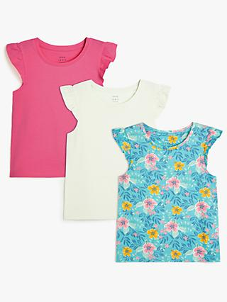 John Lewis & Partners Kids' Tropical Floral and Plain Frill Sleeve T-Shirts, Pack of 3, Blue/Pink