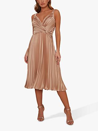 Chi Chi London Tayla Pleated Dress, Champagne