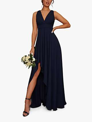 Chi Chi London Shay Pleat Detail Asymmetric Hem Dress, Navy