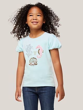 John Lewis & Partners Kids' Under The Sea Sequin T-Shirt, Clearwater