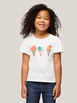 John Lewis & Partners Kids' Embellished Ice Cream T-Shirt, White