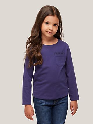 John Lewis & Partners Kids' Lace Trim Long Sleeve Top