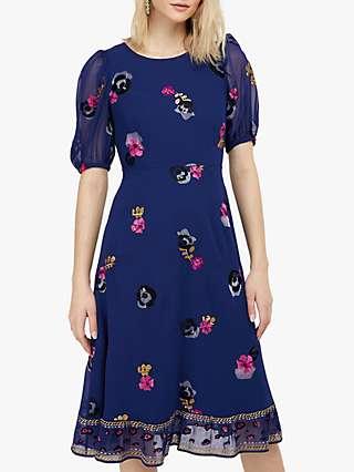 Monsoon April Floral Tea Dress, Blue
