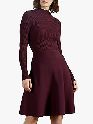 Ted Baker Josey Button Detail Skater Dress, Red Wine
