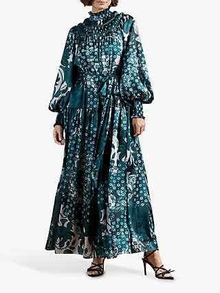 Ted Baker Anafia Smock Neck Maxi Dress, Teal Blue