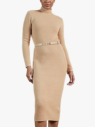 Ted Baker Conniey Funnel Neck Chunky Knitted Midi Dress, Camel