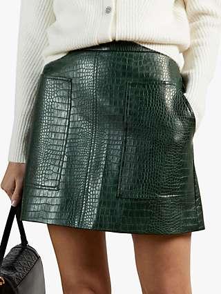 Ted Baker Oswine Faux Leather Skirt, Dark Green