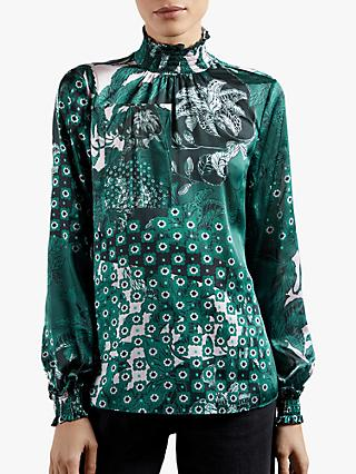 Ted Baker Madrii Floral Print Top, Teal