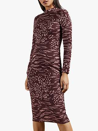 Ted Baker Deeh Long Sleeve Bodycon Dress, Red Wine