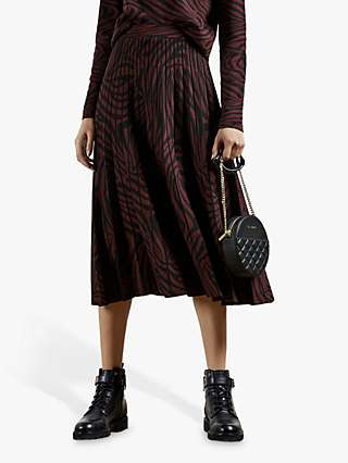 Ted Baker Viviynn Zebra Print Pleated Skirt, Wine