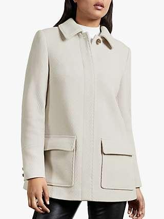 Ted Baker Kamile Wool Blend Pea Coat, Cream