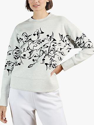 Ted Baker Lyhndi Flocked Sweatshirt, Cream