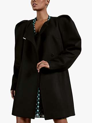 Ted Baker Zylaa Wool Blend Puff Shoulder Coat, Black