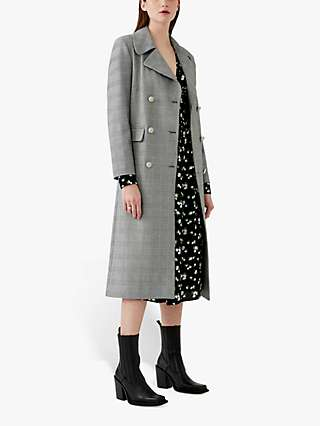 Ghost Ellie Long Check Coat, Light Grey