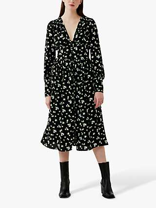 Ghost Joss Ditsy Floral Midi Dress, Mono