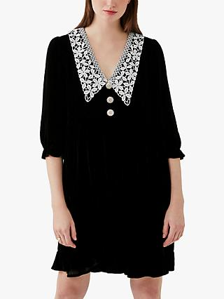 Ghost Beau Silk Velvet Collar Detail Dress, Black