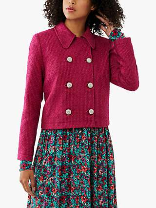 Ghost Darby Cropped Tweed Jacket, Fuchsia