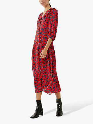 Ghost Flynn Vintage Floral Print Midi Dress, Folk Red