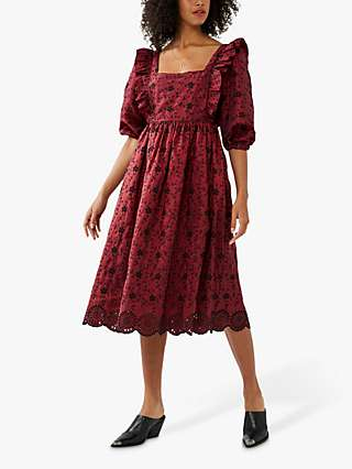 Ghost Ryleigh Embroidered Dress, Red