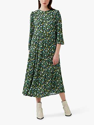 Ghost Ada Floral Midi Dress, Folky Blue